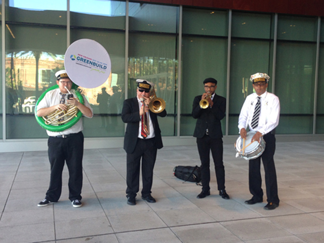 A jazz band playing some tunes outside of the New Orleans Convention Center for Greenbuild 2014.