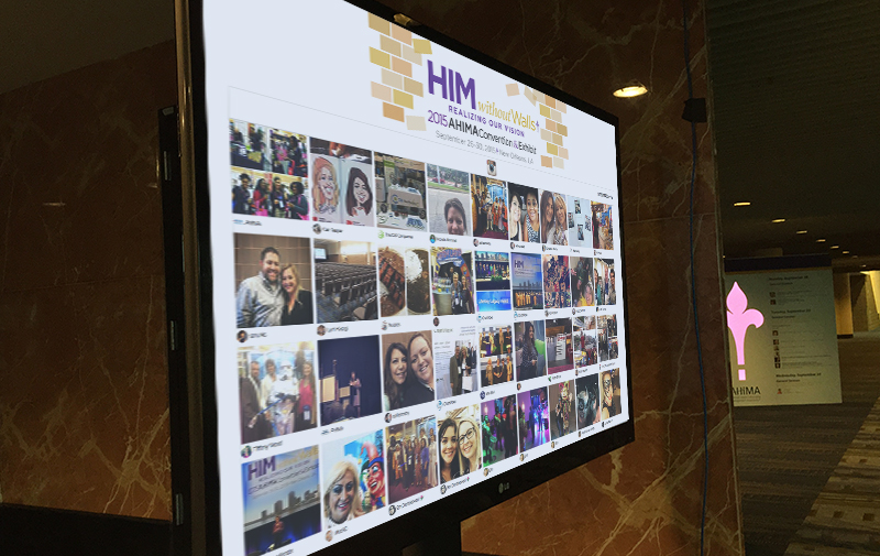 An Instagram feed displayed on your digital signage is a great way to get attendees sharing pictures and promoting your next conference or event on one of the world's largest social media platforms.