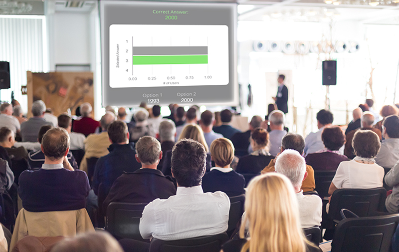 Audience response systems are all the rage. Feed audience poll results right to your session displays via your AV so your attendees can see what their peers are saying in real time.