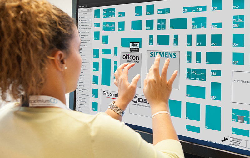 Display your trade show floor plan on digital signage so your attendees can see vendor information and find their way around your expo hall.