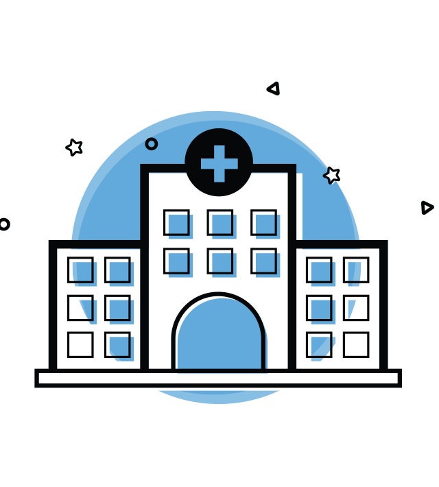 The Survey Magnet is used by hospitals. This image shows a blue circle with a line icon drawn over top of it of a hospital building.