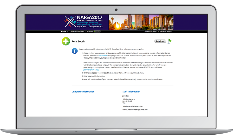 NAFSA also wanted to use CadmiumCD to display available booths to exhibitors, sell booth space and sponsorship items, and properly display and enforce pricing tiers before sending this data back to iMIS.