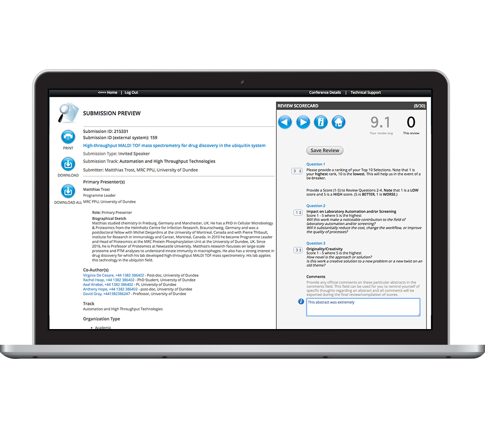 Scorecard Submissions Amp Review Software Cadmiumcd